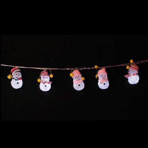 Guirlande lumineuse Bonhommes de Neige LED blanc chaud
