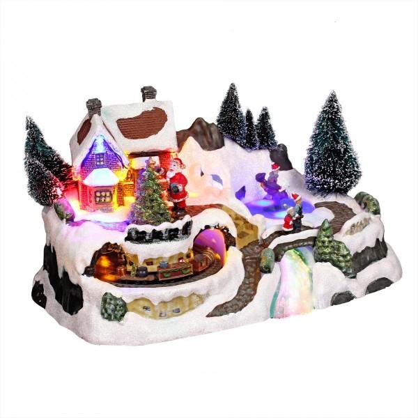 31b09b70d2f Pueblo de Navidad luminoso con tren - Pueblo de Navidad - Eminza