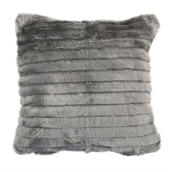 housse de coussin imitation fourrure rayure gris eminza. Black Bedroom Furniture Sets. Home Design Ideas