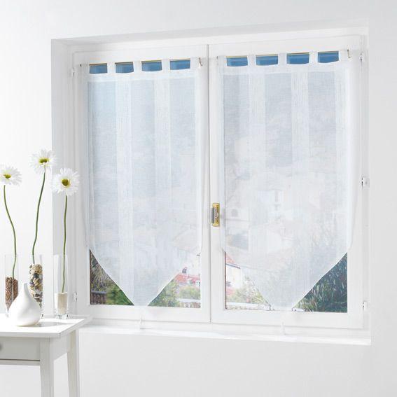 Paire de voilage (45 x H120 cm) Salina Blanc - Rideau / Voilage ...