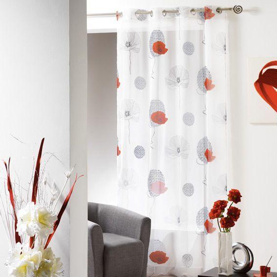 voilage oeillets poppy blanc eminza. Black Bedroom Furniture Sets. Home Design Ideas