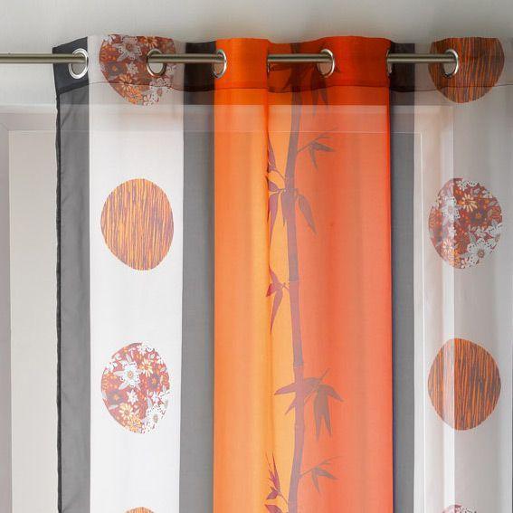 voilage oeillets sana rouge et orange eminza. Black Bedroom Furniture Sets. Home Design Ideas
