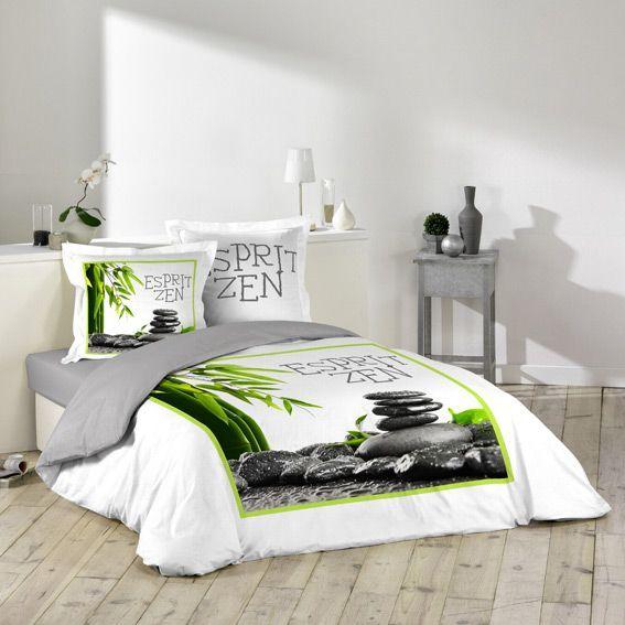 housse de couette et deux taies esprit zen housse de couette eminza. Black Bedroom Furniture Sets. Home Design Ideas