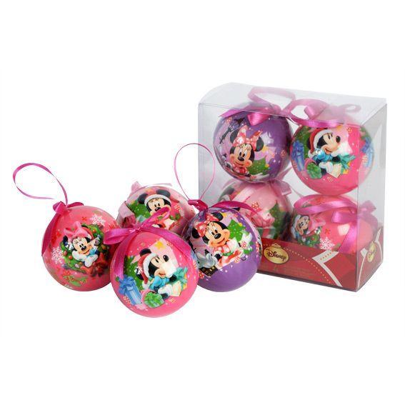 Lot de 4 boules de no l disney minnie boule et d co de - Boule de noel disney ...