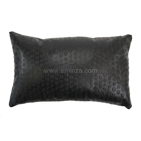 coussin d houssable t te de mort noir d co textile eminza. Black Bedroom Furniture Sets. Home Design Ideas