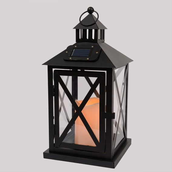 lanterne solaire led luna noir am nagement d 39 ext rieur eminza. Black Bedroom Furniture Sets. Home Design Ideas