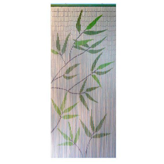rideau de porte bambou imprim feuilles rideau voilage store eminza. Black Bedroom Furniture Sets. Home Design Ideas