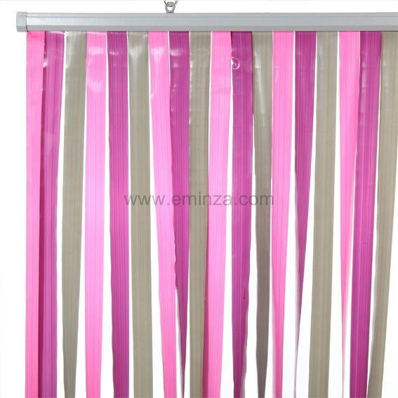 rideau de porte lanieres prune et gris. Black Bedroom Furniture Sets. Home Design Ideas