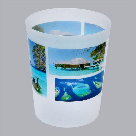 poubelle paradis bleu accessoire salle de bain eminza. Black Bedroom Furniture Sets. Home Design Ideas