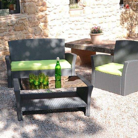 Lot de 3 coussins pour salon de jardin Ibiza - Anis - Textile d ...