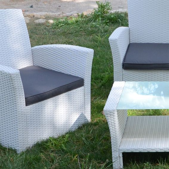 Lot de 3 coussins pour salon de jardin Ibiza - Anthracite - Textile ...