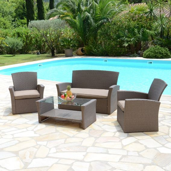 Salon de jardin Ibiza Taupe - 4 places - Salon de jardin, table et ...
