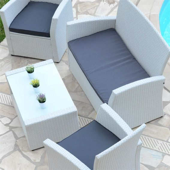 Salon de jardin Ibiza Blanc/Anthracite - 4 places - Salon de jardin ...