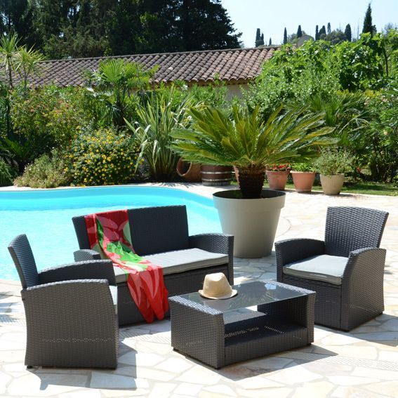 Salon de jardin Ibiza Anthracite/Gris clair - 4 places - Salon de ...