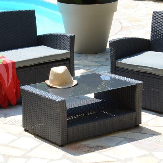 Salon de jardin Ibiza Anthracite/Gris clair - 4 places - Salon de ...