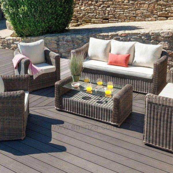 salon de jardin calvi sepia ecru 7 places salon de jardin table et chaise eminza. Black Bedroom Furniture Sets. Home Design Ideas