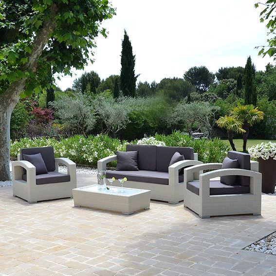 Salon de jardin Panama Blanc - 5 places - Salon de jardin, table et ...