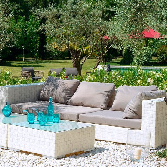 Salon de jardin Agadir Blanc/Gris - 7 places - Salon de jardin - Eminza
