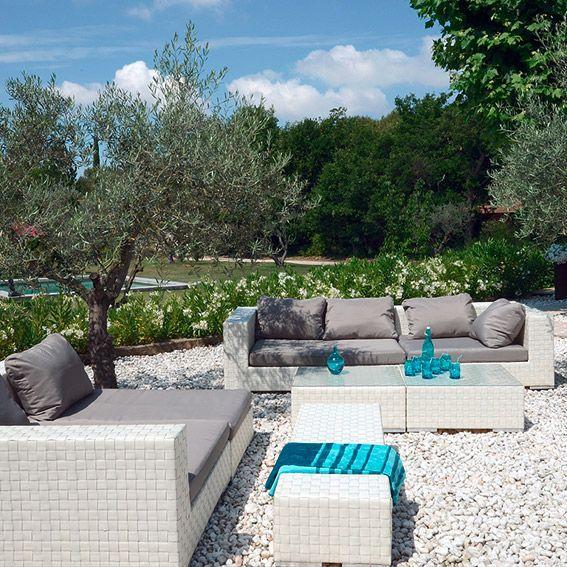 Salon de jardin Agadir Blanc/Gris - 7 places - Salon de jardin ...