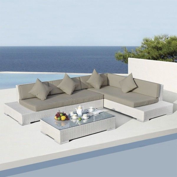 Salon de jardin Maldives Blanc/Taupe - 5 places