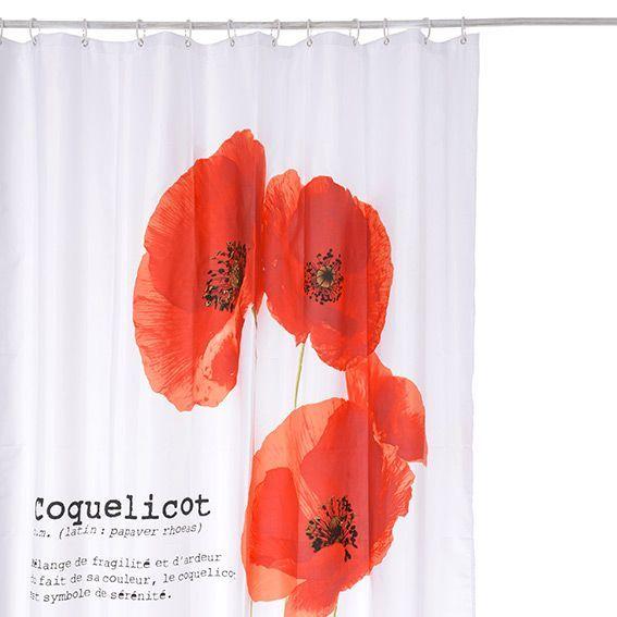 Rideau de douche Coquelicot Rouge Premium - Accessoire Douche ...