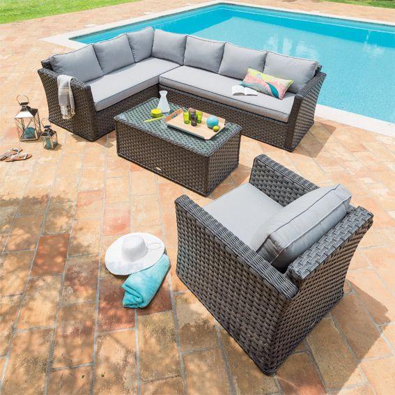 Salon de jardin Esteli Gris - 6 places - Salon de jardin - Eminza