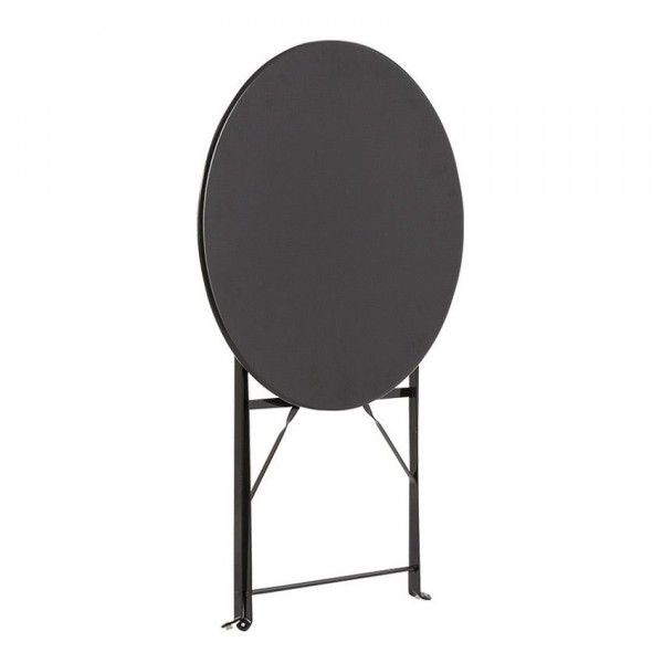 Table de jardin ronde pliante Métal Camargue (D60 cm) - Noir