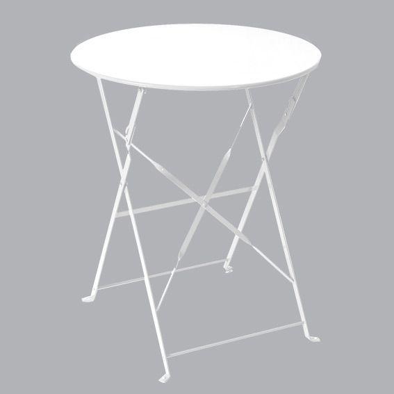 Table de jardin ronde pliante Métal Camargue (D60 cm) - Blanc