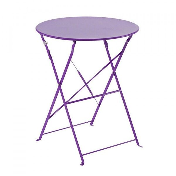table de jardin ronde pliante m tal camargue d60 cm violet table de jardin eminza. Black Bedroom Furniture Sets. Home Design Ideas