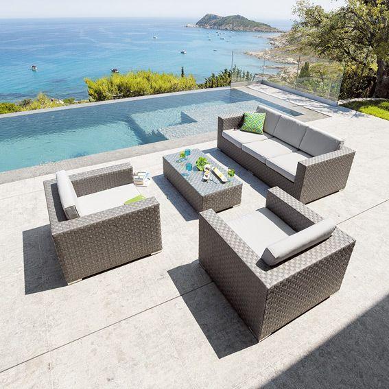Salon de jardin Capiata Gris - 5 places - Salon de jardin, table et ...