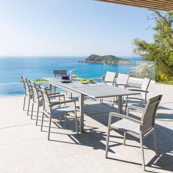 salon de jardin extensible azua composite gris 6 10 personnes - Salon De Jardin En Composite