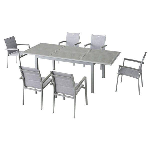 salon de jardin extensible azua composite gris 6 10 personnes salon de jardin eminza. Black Bedroom Furniture Sets. Home Design Ideas