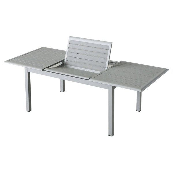 Salon de jardin extensible azua composite gris 6 10 personnes salon de jardin table et - Salon de jardin composite ...