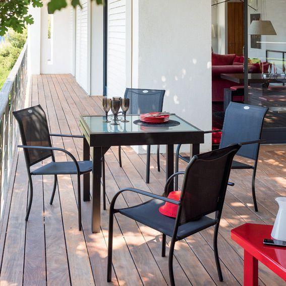 Salon de Jardin Chaweng Noir - 5 pièces - Salon de jardin, table et ...