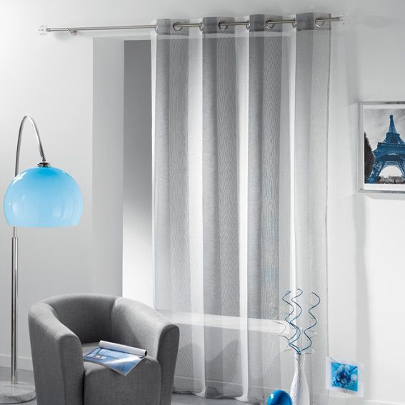voilage oeillets tiss ibiza blanc et gris eminza. Black Bedroom Furniture Sets. Home Design Ideas