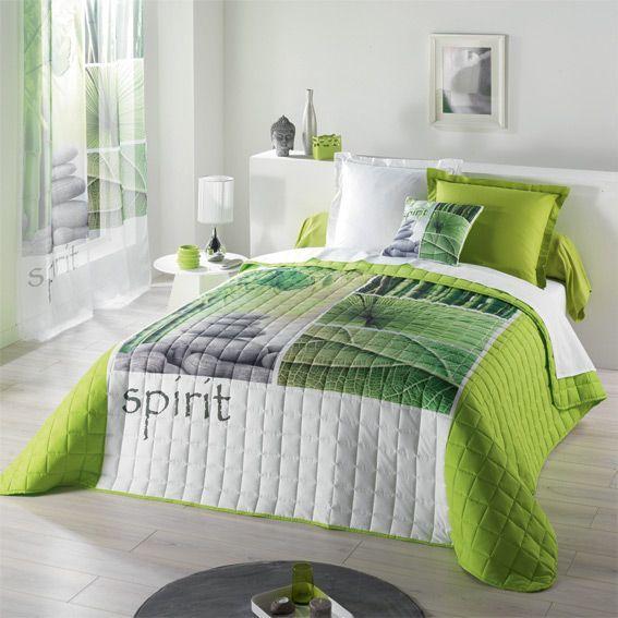 couvre lit 220 x 240 cm matelass niagara vert couvre lit boutis eminza. Black Bedroom Furniture Sets. Home Design Ideas