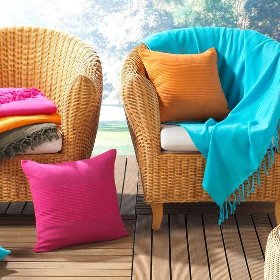 Jeté de canapé (220 cm) Lana Bleu turquoise - Déco textile - Eminza