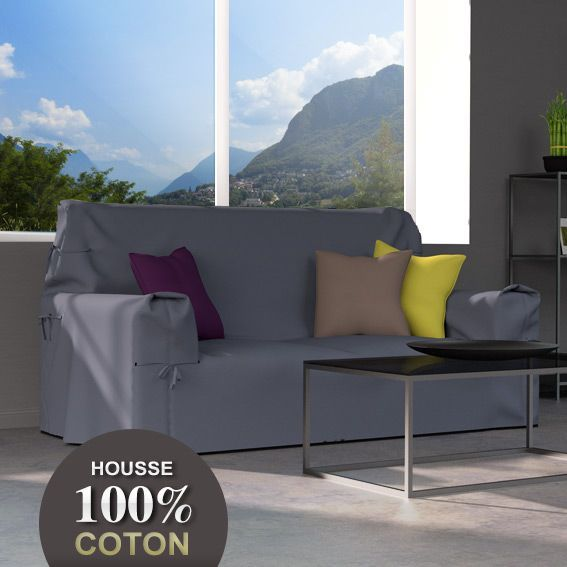 Housse de canap 2 places contemporaine gris fonc - Housse de canape gris ...