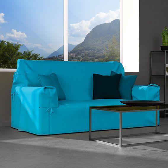 Housse De Canapé 2 Places Gamme Contemporaine Bleu Turquoise