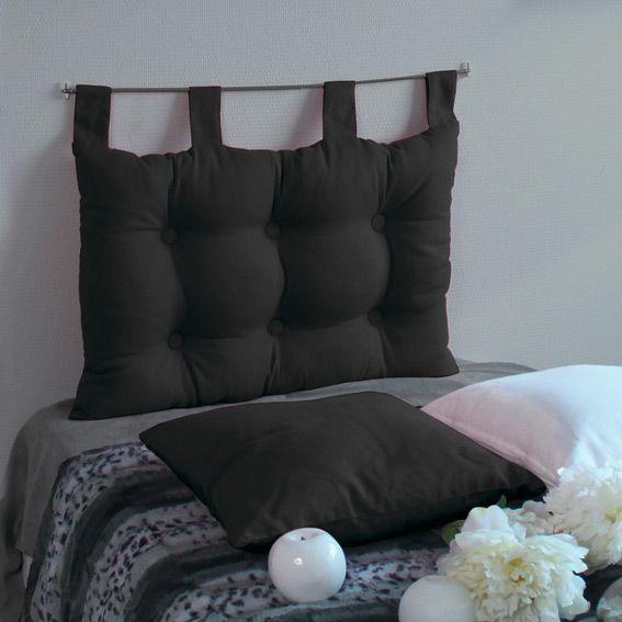 T�te de lit (63 cm) Capiton Noir