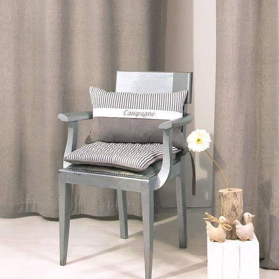 coussin de chaise carr campagne gris eminza. Black Bedroom Furniture Sets. Home Design Ideas