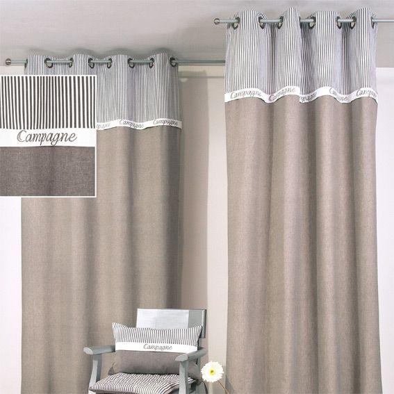 rideau 140 x h250 cm campagne gris rideau voilage. Black Bedroom Furniture Sets. Home Design Ideas