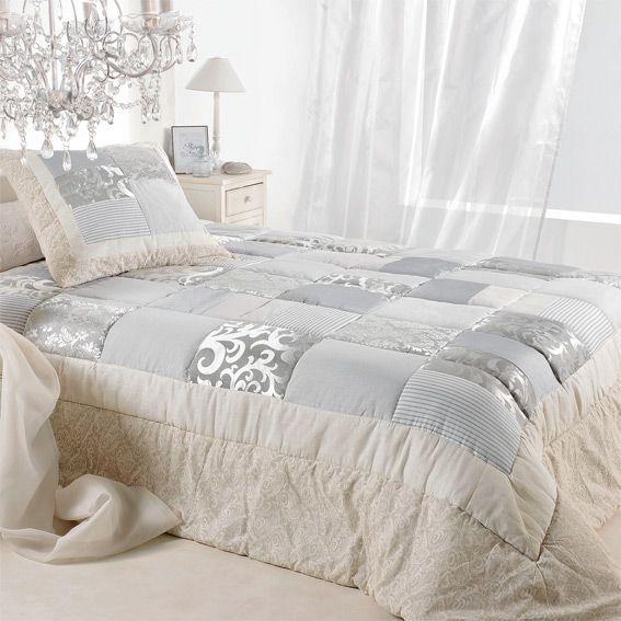 couvre lit boutis style campagne chic linge de lit eminza. Black Bedroom Furniture Sets. Home Design Ideas