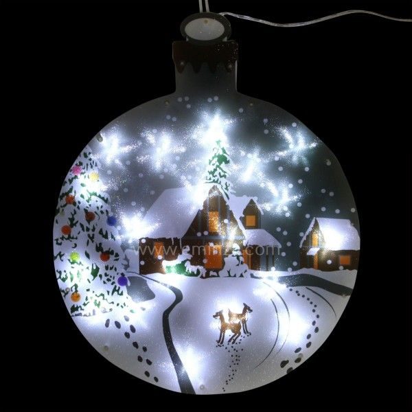 boule lumineuse village blanc froid 20 led personnage animaux et objet lumineux eminza. Black Bedroom Furniture Sets. Home Design Ideas