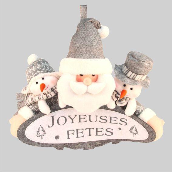 Banderole de Noël joyeuses fêtes Gris