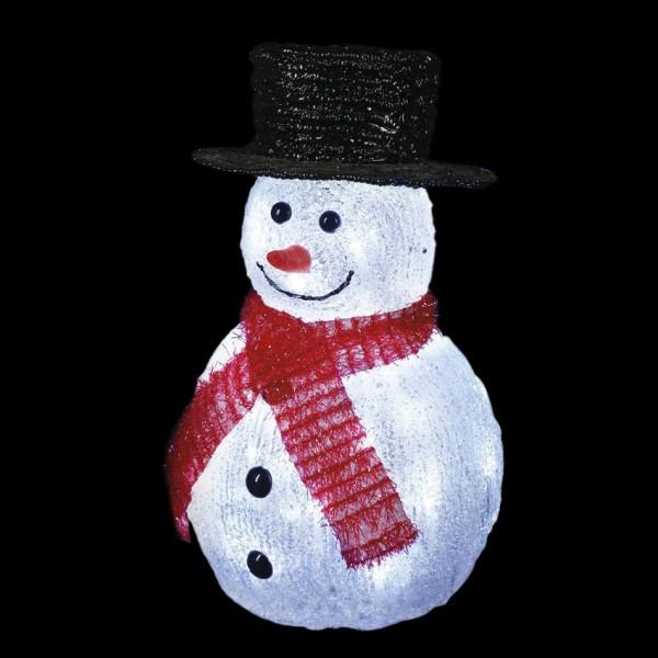 Bonhomme De Neige Lumineux Chapeau Noir Blanc Froid 32 Led