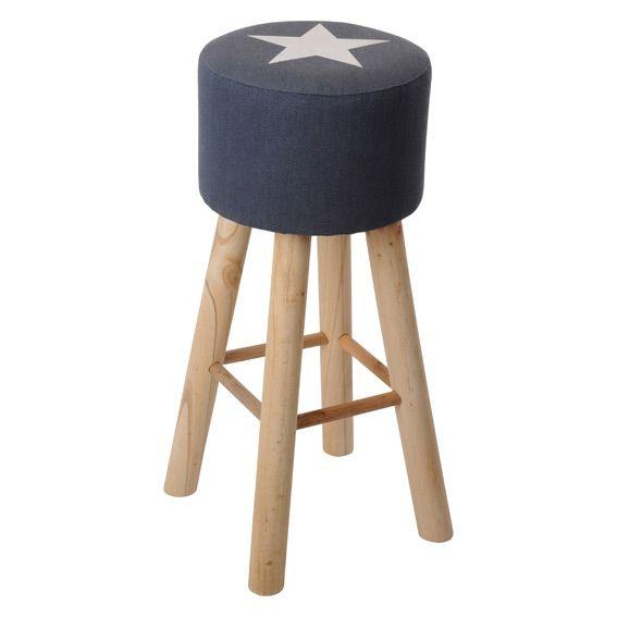 grand tabouret stars bleu jeans d coration de table eminza. Black Bedroom Furniture Sets. Home Design Ideas