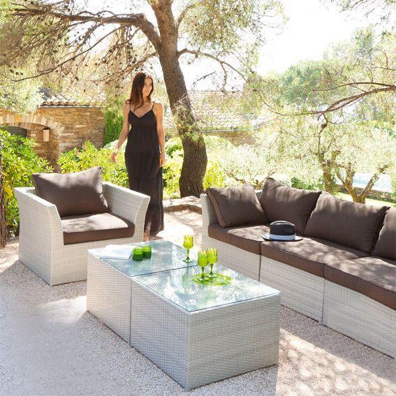 Salon de jardin s villa gris clair 5 places eminza - Spa de sevilla ...