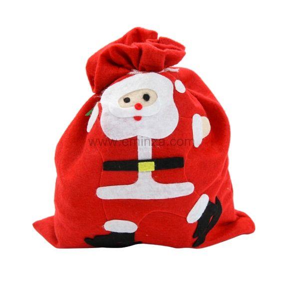 Sac cadeau en tissu p re no l lucien rouge emballages cadeaux eminza - Sac cadeau noel ...
