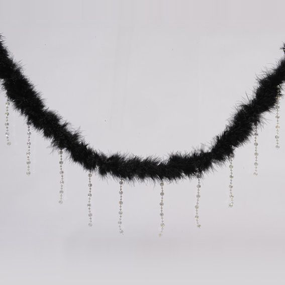 Guirlande Boa en plume et perles Noir